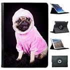 Pug Dog Dressed In Pink Hoodie Folio Wallet Leather Case For iPad Air & Air 2