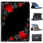 Red Hearts & Silver Flowers On Black Background Leather Case For iPad Air, Air 2