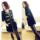 97k WOMEN'S GOLD BUCKLE AND BADGES WOOL CARDIGAN LONG-SLEEVED JACKET