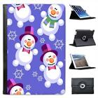 Snowmen Floating in Christmas Wonderland Folio Leather Case For iPad Mini