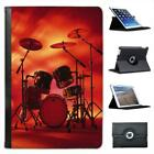 Rocking Rock Band Drum Set with Cymbals  Folio Leather Case For iPad Mini