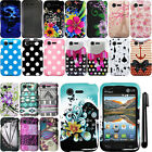 For LG Optimus Zone 2 Fuel L34C VS415PP Design PATTERN HARD Case Cover + Pen