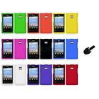 For LG Optimus Dynamic L38C Color Hard Rubberized Case Cover+Mini Stylus