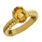 1.15 Ct Oval Yellow Citrine 925 Yellow Gold Plated Silver Ring