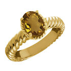 1.60 Ct Oval Champagne Quartz 925 Yellow Gold Plated Silver Ring