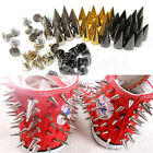 100x 14mm Metal Bullet Spike Stud Punk Bag Belt Clothes Leathercraft Cone Rivet
