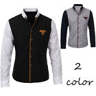 Mens Luxury Casual Slim Fit Stylish Dress Shirts Splice Long Sleeve Formal Shirt