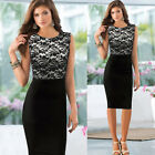 Stylish Womens Crew Neck Style OL Office Bodycon Skirt Party Sheath Pencil Dress