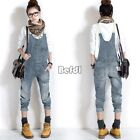 Womens Ladies Baggy Denim Jeans Full Length Pinafore Dungaree Jumpsuit Overall