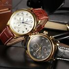 Ks Mens 4 Colors Automatic Mechanical 6 Hands Month Sport Leather Wrist Watch