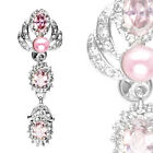 Pink Pearl and CZ Gems Top Down Reverse Navel Belly Ring Body Piercing Jewelry