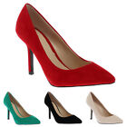 NEW WOMENS MID STILETTO HEEL LADIES FAUX SUEDE POINTY SMART COURT SHOES SIZE 3-8