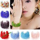 AB Crystal Beads Hand-knitting Colorful Flower Net-shap Bracelet Srech Bracelets
