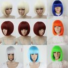 9 Colors Womens Short Bob Hair Straight Full Weave Wigs Cosplay Costume Party