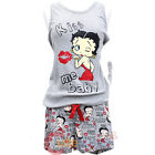 Betty Boop Pajama Set Kiss Me Baby Tank Top and Short Pants Grey- 4 Size S to XL