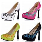 Floral Ladies' Shoes Synthetic High Heel Platform Women Party Pumps US All Sizes