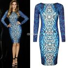 Women Bodycon Pencil Dress Leopard Backless Cocktail Slim Long Sleeve Sexy C99D
