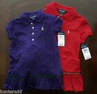 NWT Ralph Lauren Girls S/S Drop Waist Tartan Trim Mesh Polo Dress 6x NEW $40 4c