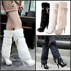 Sexy Women's Stilettos Heels Tall Calf Knee HIgh Boots Fur Thick Patent Pltform