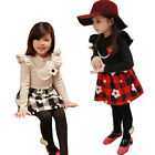 New Girls Kids Elegant Plaid Check Flower Pearl Necklace Tutu Dress 2-7Y Clothes