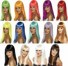 Long Straight Wig With Fringe 60s 70s 80s 90s Neon Hen Night Ladies Fancy Dress