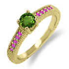 0.68 Ct Green Chrome Diopside Pink Sapphire 925 Yellow Gold Plated Silver Ring