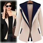 Elegant Women's British Trench Patchwork Jacket Style Outwear Hooded Coats -LA