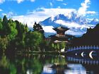 6520.Japanese house at edge of lake.mountain in background.POSTER.art wall decor