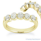 1.25 ct Round Moissanite 5-Stone Ring Shared-Prong 14k Yellow Gold Wedding Band