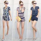 Women Lady Casual Crown Geometric Print Chiffon Pants Jumpsuits Rompers Playsuit