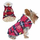 Red Plaid Dog Puppy Vest Jacket Stuffed Parka with Hat
