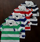 NWT Ralph Lauren Boys SS Striped Big Pony Rugby Shirt 8 10/12 14/16 18/20 NEW 4d