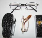 1 Reader + clip on case  Mens Womens FOLDING READING GLASSES Spring Hing frame