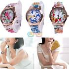 Hot New Fashion Women Dress Watch Silicone Flower Print Causal Quartz Wristwatch