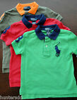 NWT Ralph Lauren Boys S/S Contrast Collar Big Pony Mesh Polo Shirt 2/2t NEW 3e