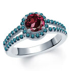 1.50 Ct Round Red Rhodolite Garnet Blue Diamond 18K White Gold Ring