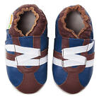 Momo Baby Boys Brown/Blue Z-Strap Sneaker Soft Sole Leather Shoes