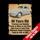 60 Year Old Beetle Bug Funny 60th Birthday Gift T-Shirt Fathers Day S-5XL
