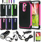 RUGGED HEAVY DUTY IMPACT HARD HYBRID ARMOR CASE COVER FOR LG G2 w / ACCESSORIES