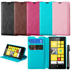 For Nokia Lumia 520 Wallet LEATHER Skin POUCH Case Cover Phone Accessory + Pen