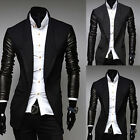 Mens Slim Fit Casual Faux Leather Sleeve Cardigan Sweater Blazer Coat Jacket Top