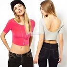 Tops Women Sexy Back Deep U Backless party Club Vest Blouse Shirts slim top