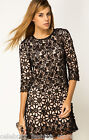 French Connection Black Lace Crochet Daisy Chain Flower Cut Out Mini Dress 8 36