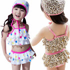 Girls Kids Beachwear SZ3-7Y Swimsuit Swimwear Dot Leopard Bathing Tankini Bikini