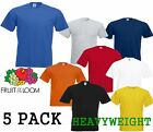 5 MENS FRUIT OF THE LOOM HEAVY COTTON T SHIRTS, CHOICE OF MANY PACKS, S-XXXL