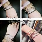 1pcs Lady Stylish Crystal Rhinestone Love Cross Infinity Elastic Beaded Bracelet