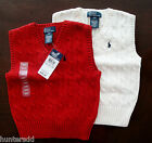 NWT Ralph Lauren Boys Cable Sweater Vest Red or Cream Sz 4/4t NEW $40 4a