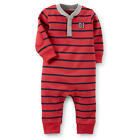 Carter's Boys Red/Navy Striped Henley Coverall with Elbow Details