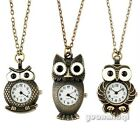 Vintage Jewelry Women Men Cute Owl Bird Quartz Pocket Watch Clock Necklace Gift