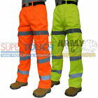 3 Band Hi Viz Work Combat Safety Cargo Trouser Pants Highways Rail Knee Pocket